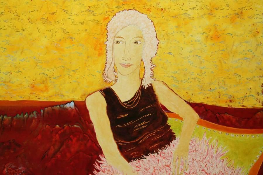 """""""Frau im Hasenhimmel"""" 2008 Eitempera, Öl auf Schablonenpapier, 70x100 cm —sold—"""