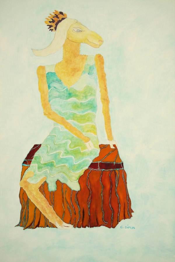 """""""Trude"""" 2006 Eitempera, Öl auf Schablonenpapier, 70x100 cm"""