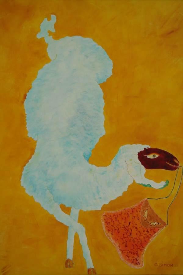 """""""Filippa"""" 2006 Eitempera, Öl auf Schablonenpapier, 100x70 cm —sold—"""