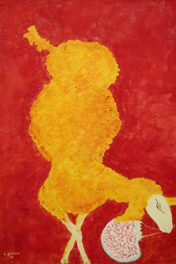 """""""Françoise"""" 2006 Eitempera. Öl auf Schablonenpapier, 100x70 cm —sold—"""
