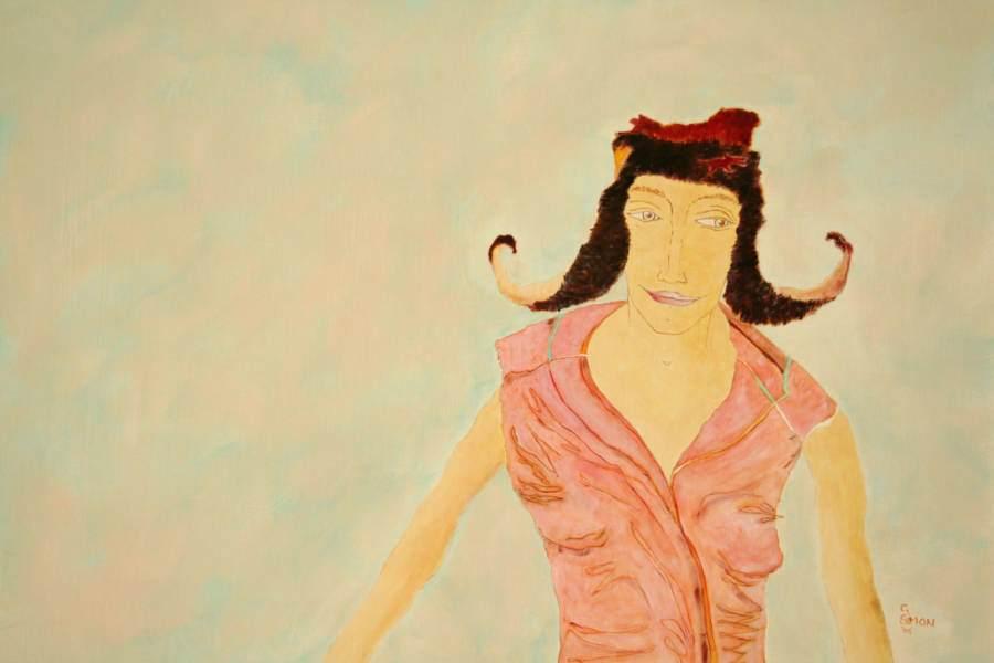 """""""Hüpfende"""" 2006 Eitempera, Öl auf Schablonenpapier, 70x100 cm"""