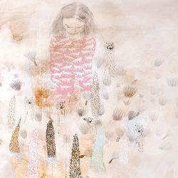 Im Garten II, 2013, Kaffee, Acryl, Graphit, Pastellkreide, Ölkreide, Buntstift auf Papier, 125,5 x 150 cm · sold