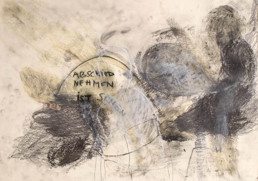 """""""Abschied nehmen ist schön"""" 2012 Graphit, Ölstift, Ölpastell auf Papier, 50x60 cm"""