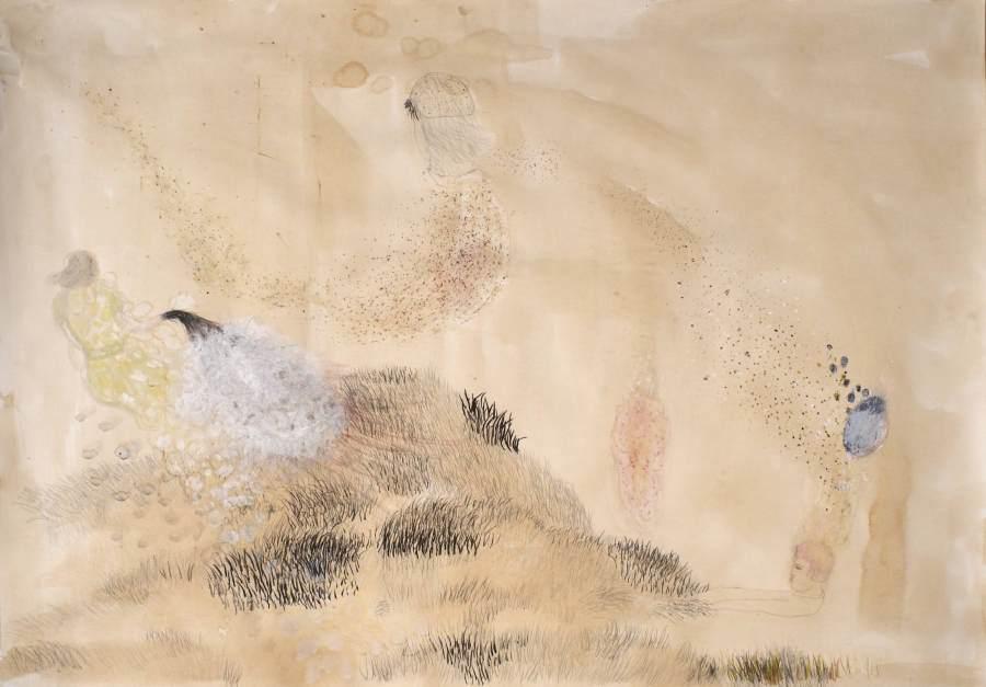 """""""Auf der Wiese"""" 2012 Kaffee, Buntstift, Ölstift, Acryl, Kohle, Ölpastell, 70x100 cm"""