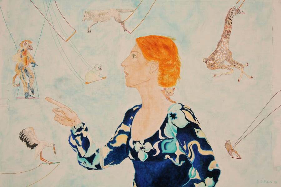 """Dompteuse"" 2010 Eitempera, Öl auf Schablonenpapier, 50x71,5 cm —sold—"