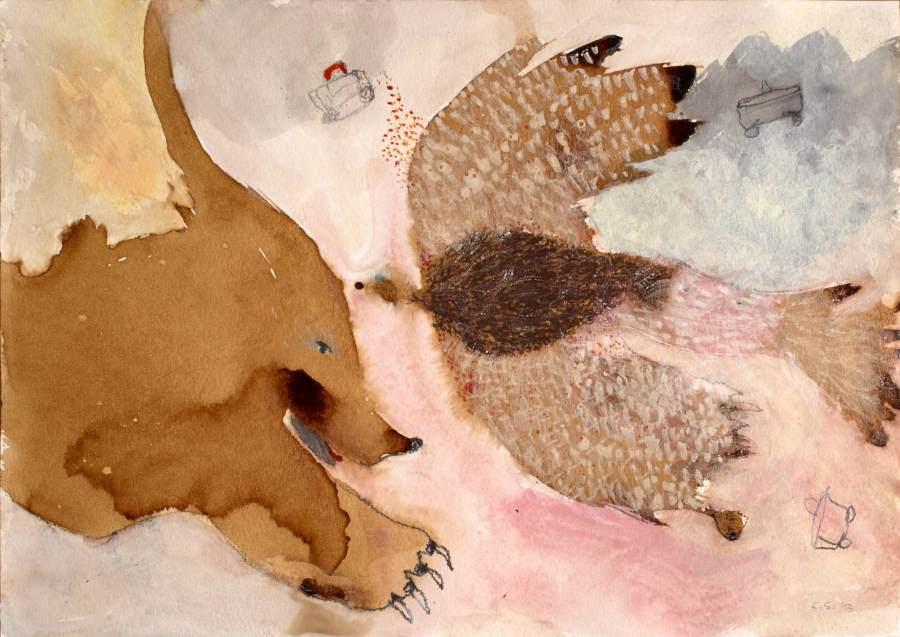 """""""Flug"""" 2013 Kaffee, Graphit, Buntstift, Tusche, Ölstift, Kohle auf Papier, 24x34 cm"""