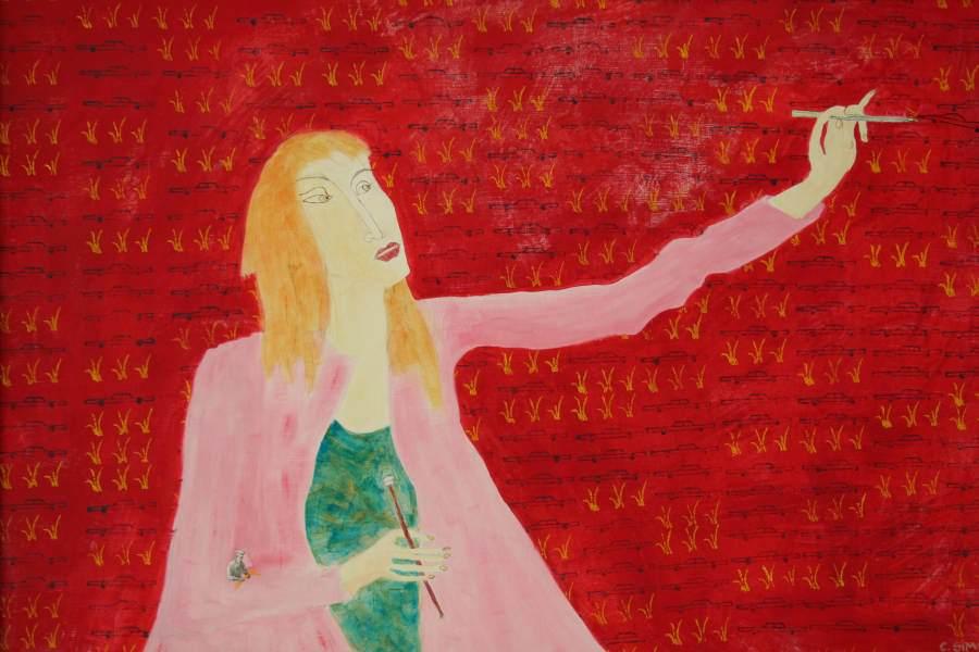 """""""Frau in Rosa"""" 2005 Eitempera, Öl auf Schablonenpapier, 70x100 cm"""