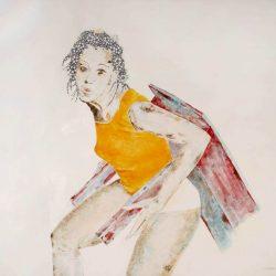 """""""Girl of Solution"""" 2013 Eitempera, Buntstift auf Holz, 79x81 cm"""