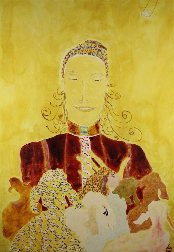 """""""Hirtin I"""" 2005 Eitempera, Öl auf Schablonenpapier, 100x70 cm —sold—"""