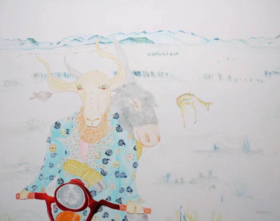 """On the road again"" 2011 Eitempera, Öl auf Holz, 100x75 cm —sold—"