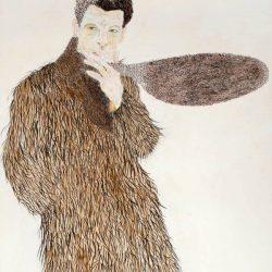 """Pelzebub"" 2013 Eitempera, Kaffee, Buntstift, Ölstift, Kohle auf Holz, 70x50 cm"