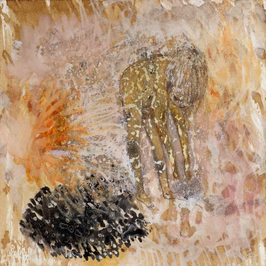 """""""Sandjunge"""" 2012 Kaffee, Graphit, Tusche, Ölstift auf Papier, 20x20 cm"""