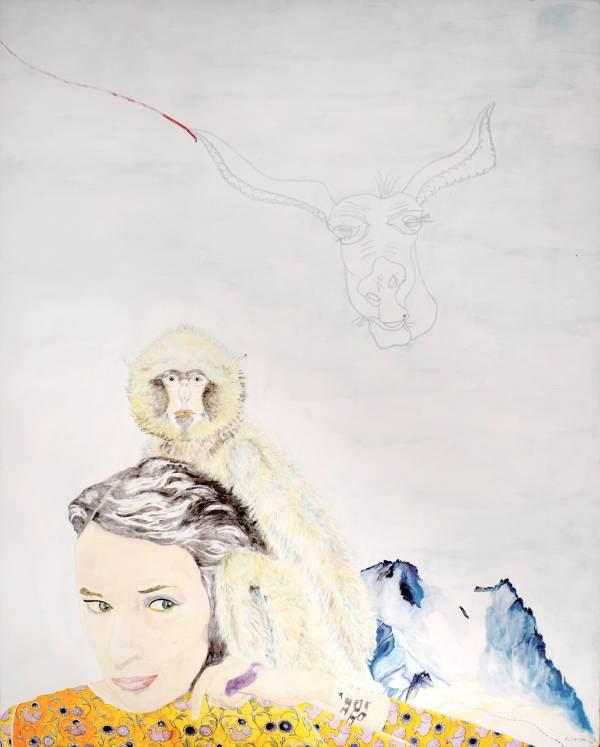 """""""Susanne am Silbersattel"""" 2011 Eitempera, Ölkreide auf Holz, 112x90 cm"""