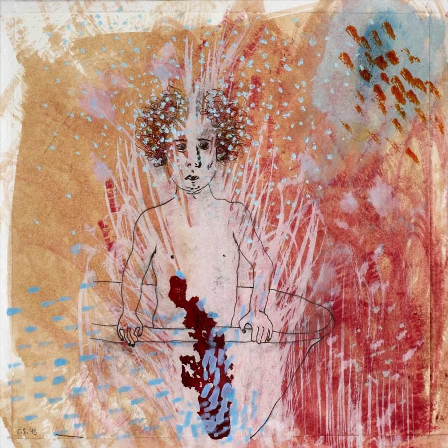 """""""Wannekind III"""" 2013 Kaffee, Tusche, Pastellkreide auf Papier, 20x20 cm"""