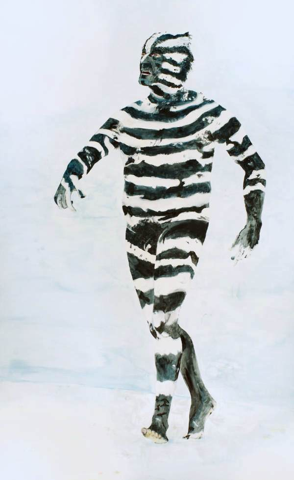 """""""Zebra"""" 2012 Eitempera auf Holz, 170x105 cm"""