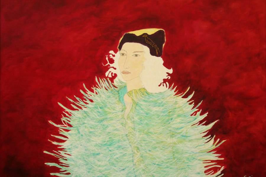 """""""Cate"""" 2006 Eitempera, Öl auf Schablonenpapier, 70x100 cm —sold—"""