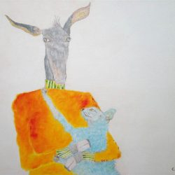 """""""Esel mit Katze"""" 2008 Eitempera, Öl auf Holz, 70x100 cm —sold—"""