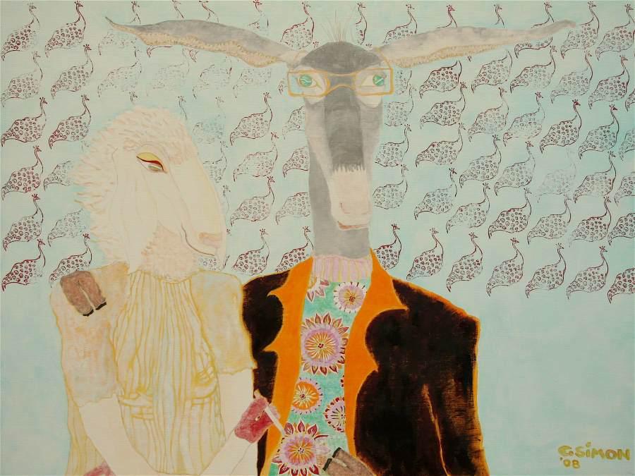 """""""Schaf und Esel"""" 2008 Eitempera, Öl auf Schablonenpapier, 75x100 cm —sold—"""