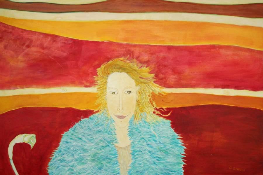 """""""Tilda"""" 2006 Eitempera, Öl auf Schablonenpapier, 70x100 cm"""