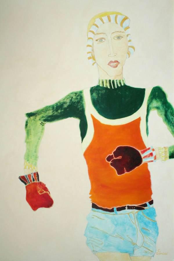 """""""Der Läufer"""" 2006 Eitempera, Öl auf Schablonenpapier, 100x70 cm —sold—"""