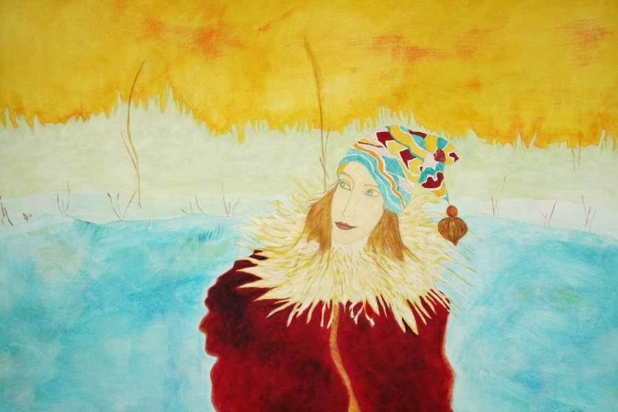 """""""Eisläuferin"""" 2006 Eitempera, Öl auf Schablonenpapier, 70x100 cm —sold—"""
