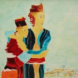 """""""Schwestern"""" 2008 Eitempera, Öl auf Schablonenpapier, 90x120 cm —sold—"""