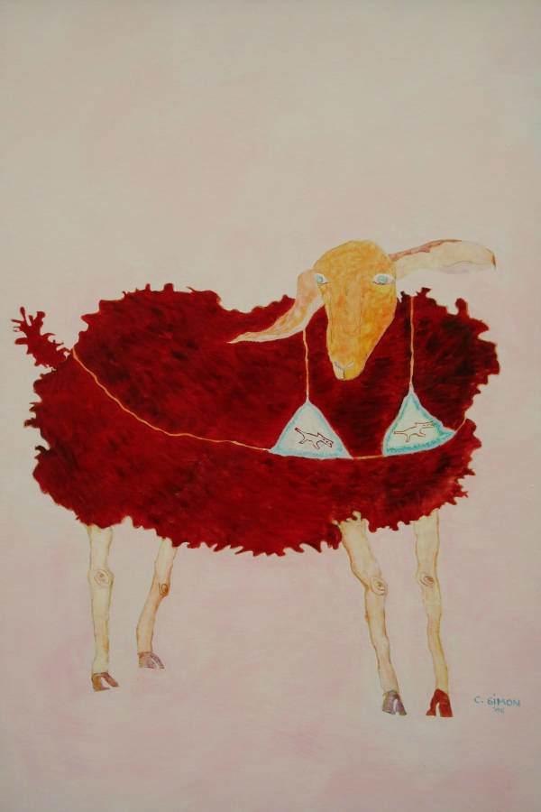 """""""Rosa"""" 2006 Eitempera, Öl auf Schablonenpapier, 100x70 cm —sold—"""