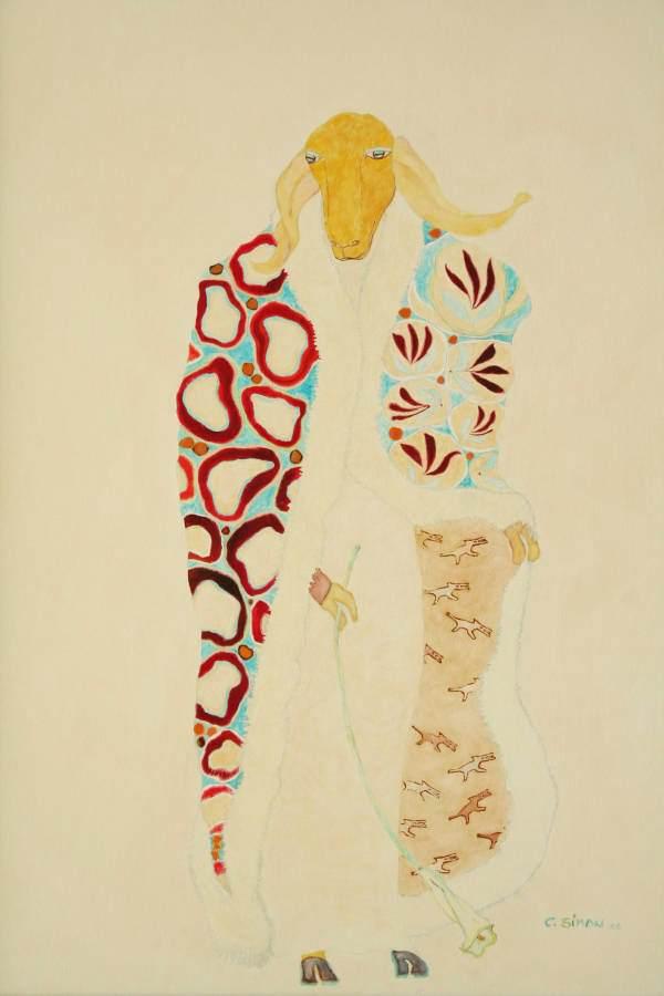 """""""Johanna"""" 2006 Eitempera, Öl auf Schablonenpapier, 100x70 cm —sold—"""