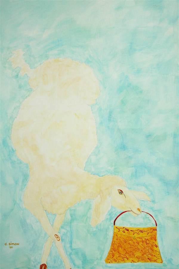 """""""Vronele"""" 2006 Eitempera, Öl auf Schablonenpapier, 70x100 cm —sold—"""