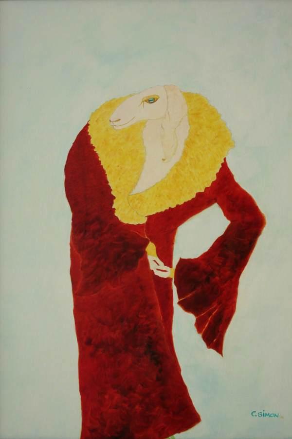 """""""Yolanda"""" 2006 Eitempera, Öl auf Schablonenpapier, 70x100 cm"""