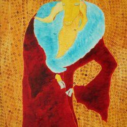 """""""Orlando"""" 2006 Eitempera, Öl auf Schablonenpapier, 100x70 cm"""