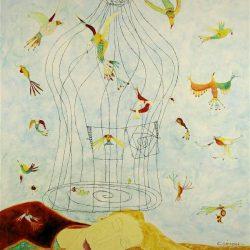 """""""Vogelkäfig"""" 2006 Eitempera, Öl auf Schablonenpapier, 100x70 cm —sold—"""