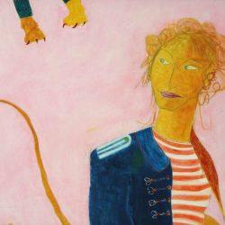 """""""Löwenfrau"""" 2006 Eitempera, Öl auf Schablonenpapier, 70x100 cm"""