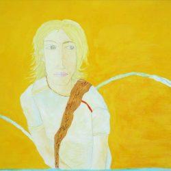 """""""Jägerin"""" 2006 Eitempera, Öl auf Schablonenpapier, 70x100 cm —sold—"""