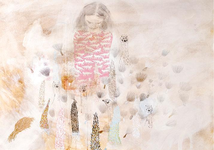 """""""Im Garten II"""", 2013, Kaffee, Acryl, Graphit, Pastellkreide, Ölkreide, Buntstift auf Papier, 125,5 x 150 cm · sold"""