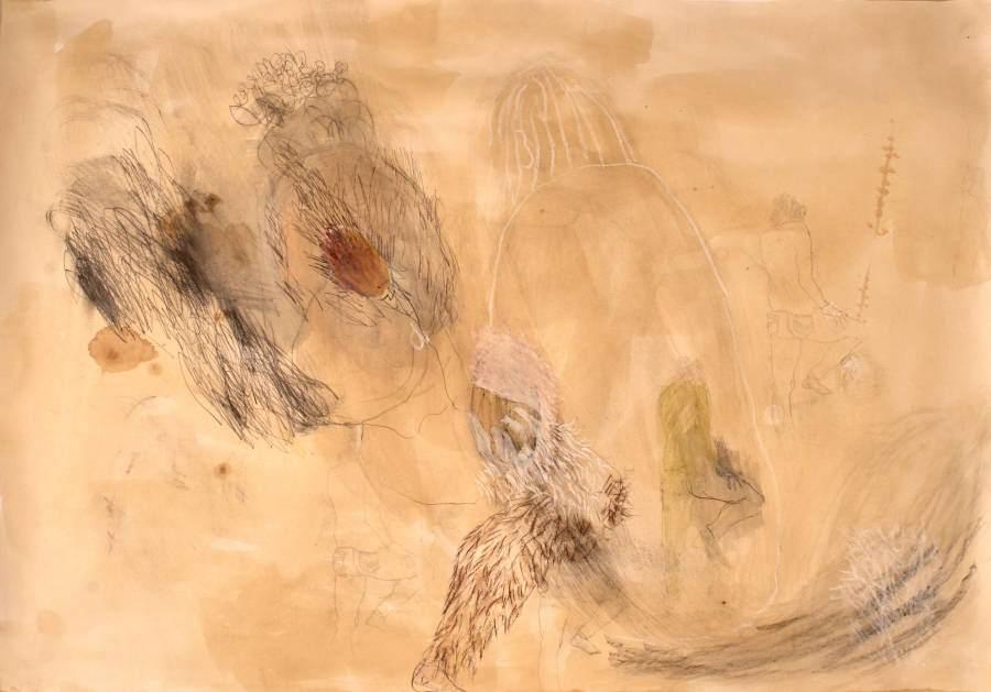 """""""Auf Wiedersehen"""" 2012 Kaffee, Acryl, Graphit, Kohle, Ölpastell auf Papier, 70x100 cm"""