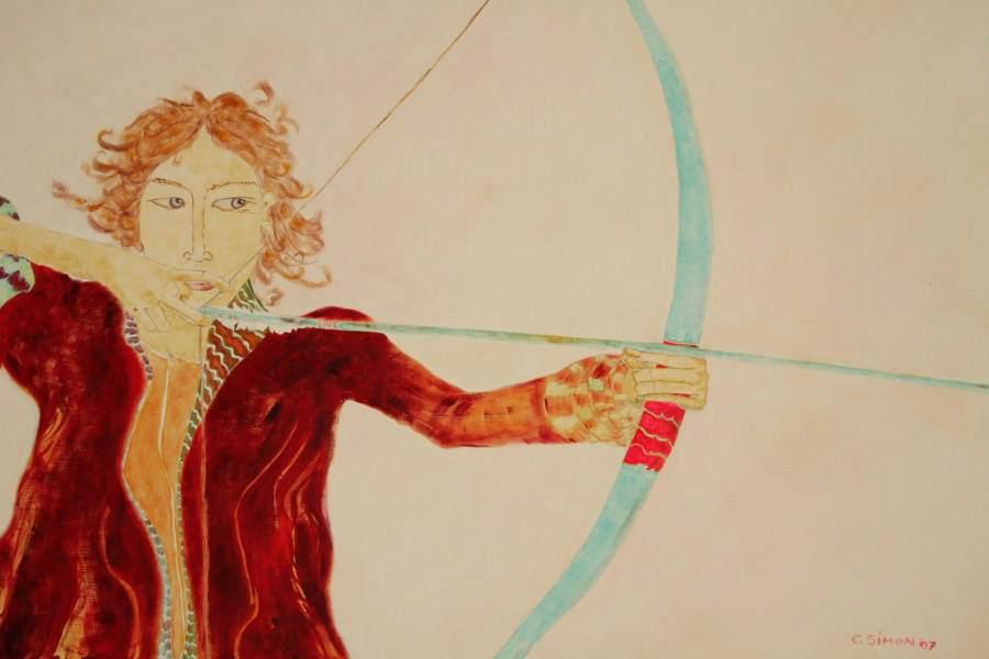 """""""Bogenschießerin"""" 2007 Eitempera, Öl auf Schablonenpapier, 70x100 cm —sold—"""