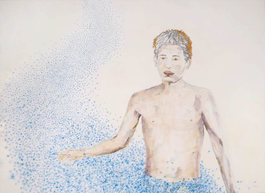 """Boy of Solution"" 2012 Eitempera, Aquarell auf Holz, 80x100 cm"