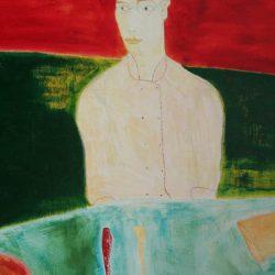 """""""Der Koch"""" 2005 Eitempera, Öl auf Schablonenpapier, 100x70 cm —sold—"""