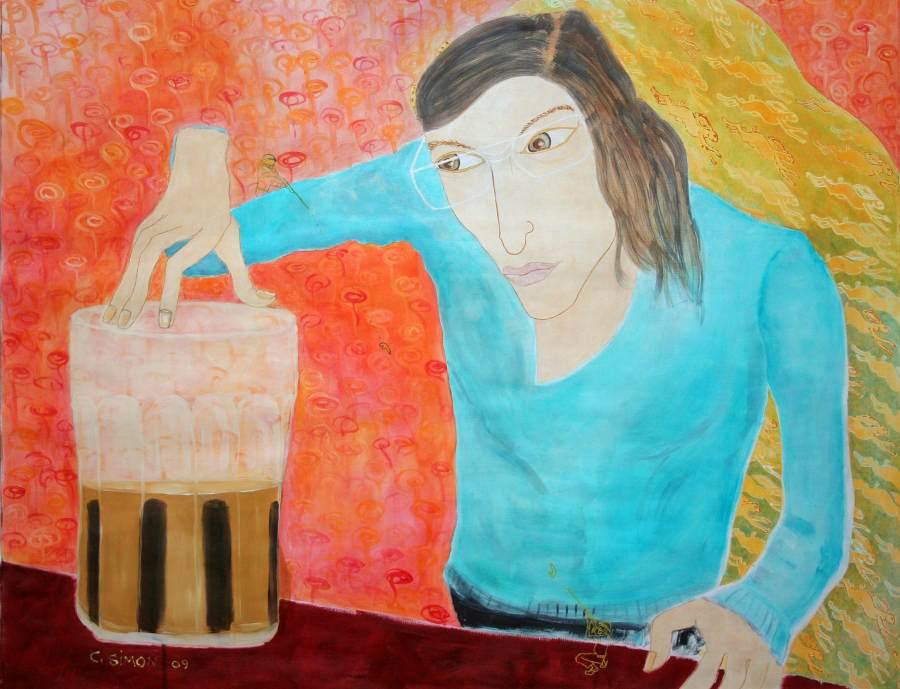 """""""Donna Mocca"""" 2009 Eitempera, Öl auf Schablonenpapier, 59x76 cm"""