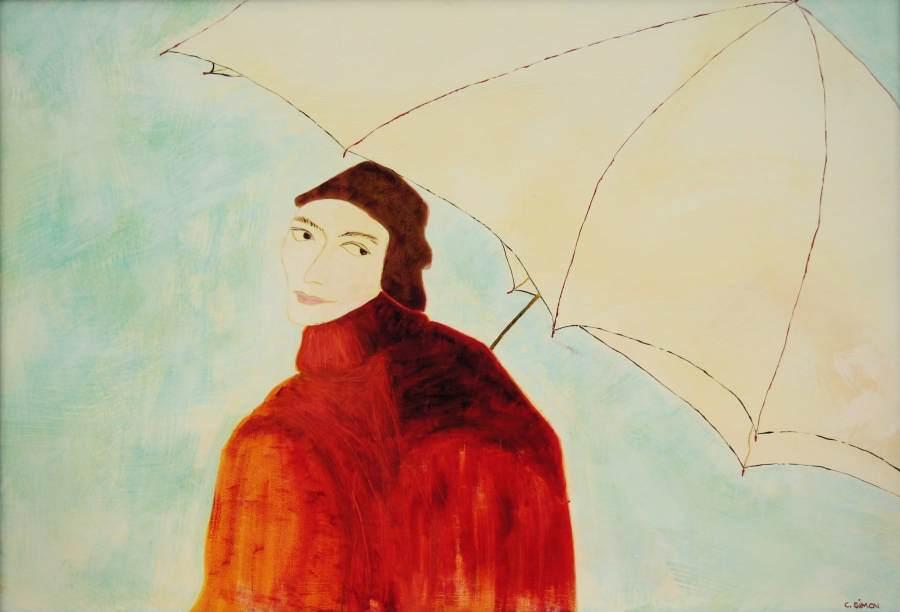 """""""Frau mit Schirm"""" 2004 Eitempera, Öl auf Schablonenpapier, 70x100 cm —sold—"""