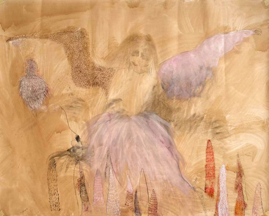 """""""Im Garten"""" 2012 Kaffee, Graphit, Acryl, Ölpastellkreide, Kohle, Ölstift auf Papier, 120,5x150 cm"""