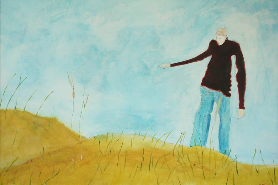 """""""Mann auf der Düne"""" 2004 Eitempera, Öl auf Schablonenpapier, 70x100 cm —sold—"""