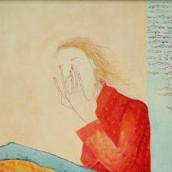 """""""Philosophin"""" 2004 Eitempera, Öl auf Schablonenpapier, 70x100 cm —sold—"""