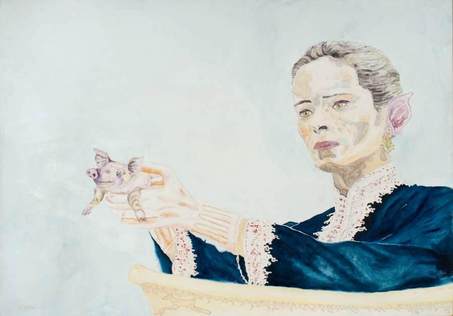 """""""Pigpistol"""" 2011 Eitempera, Öl, Ölpastellkreide auf Holz, 65x92,5 cm"""