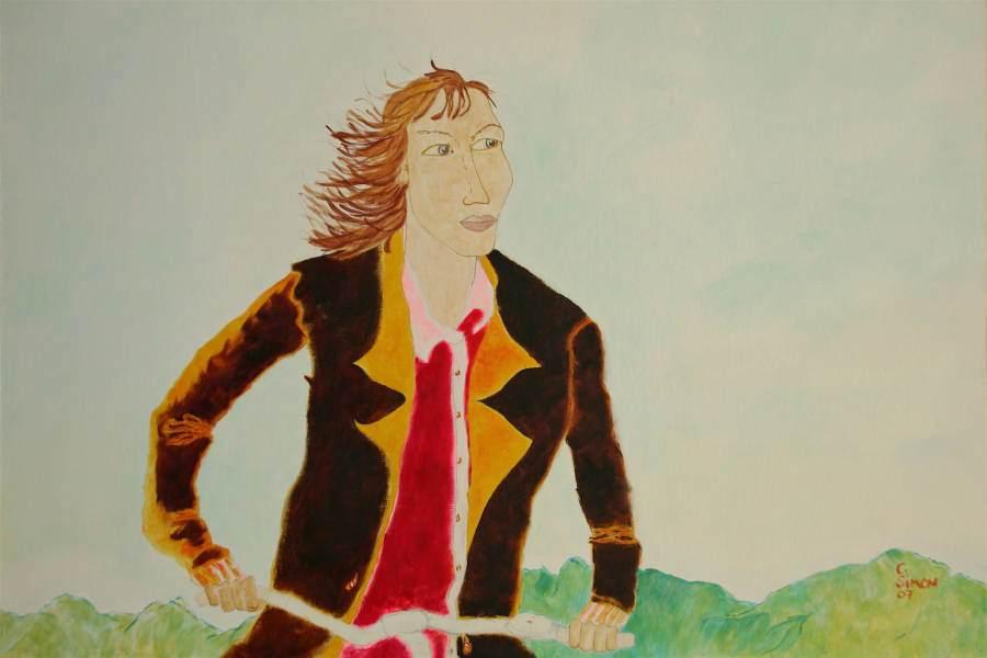 """""""Radfahrerin"""" 2007 Eitempera, Öl auf Schablonenpapier, 70x100 cm"""
