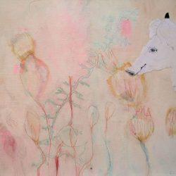 """""""Schwein allein"""" 2011 Eitempera, Buntstift, Collage auf Holz, 28x31 cm"""