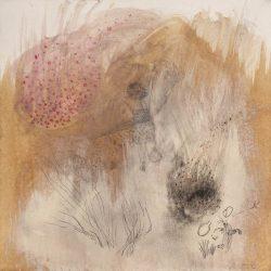 """""""Spaziersprung I"""" 2012 Kaffee, Graphit, Buntstift, Ölstift, Kohle, Tusche auf Papier, 20x20 cm"""