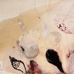 """""""Spaziersprung III"""" 2013 Kaffee, Graphit, Buntstift, Tusche, Aquarell, Acryl auf Papier 24x32 cm"""