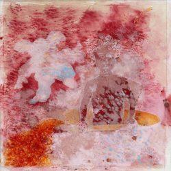 """Wannekind I"" 2013 Kaffee, Aquarell, Tusche, Kreide auf Papier, 20x20 cm"